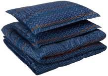 AmazonBasics Kid's Comforter Set - Soft, Easy-Wash Microfiber - Full/Queen, Navy Zigzags