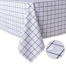 sancua Checkered Vinyl Rectangle Tablecloth - 54 x 108 Inch - 100% Waterproof Oil Proof Spill Proof PVC Table Cloth, Wipe Clean Table Cover for Dining Table, Buffet Parties and Camping, White