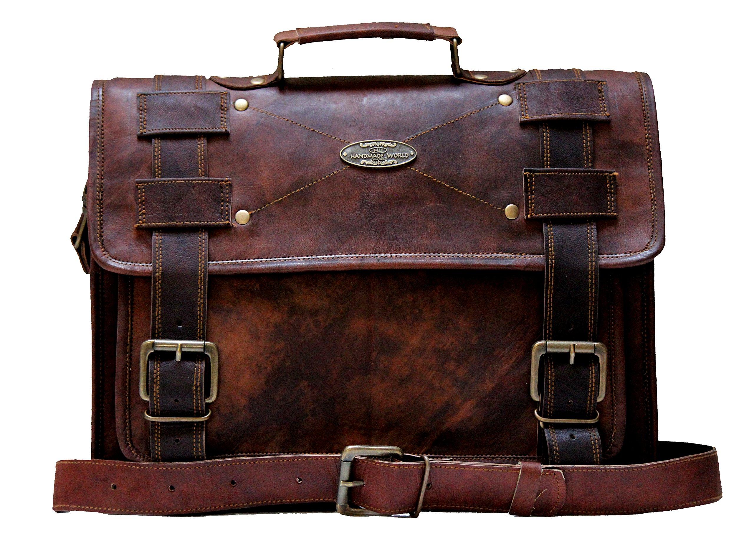 "Handmade World Laptop Bag Vintage Men Brown Leather Briefcase Messenger Bags (12"" X 16')"