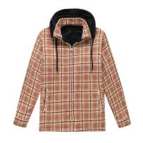 ZENTHACE Men's Sherpa Lined Fleece Flannel Plaid Shirt Jacket with Removable Hood