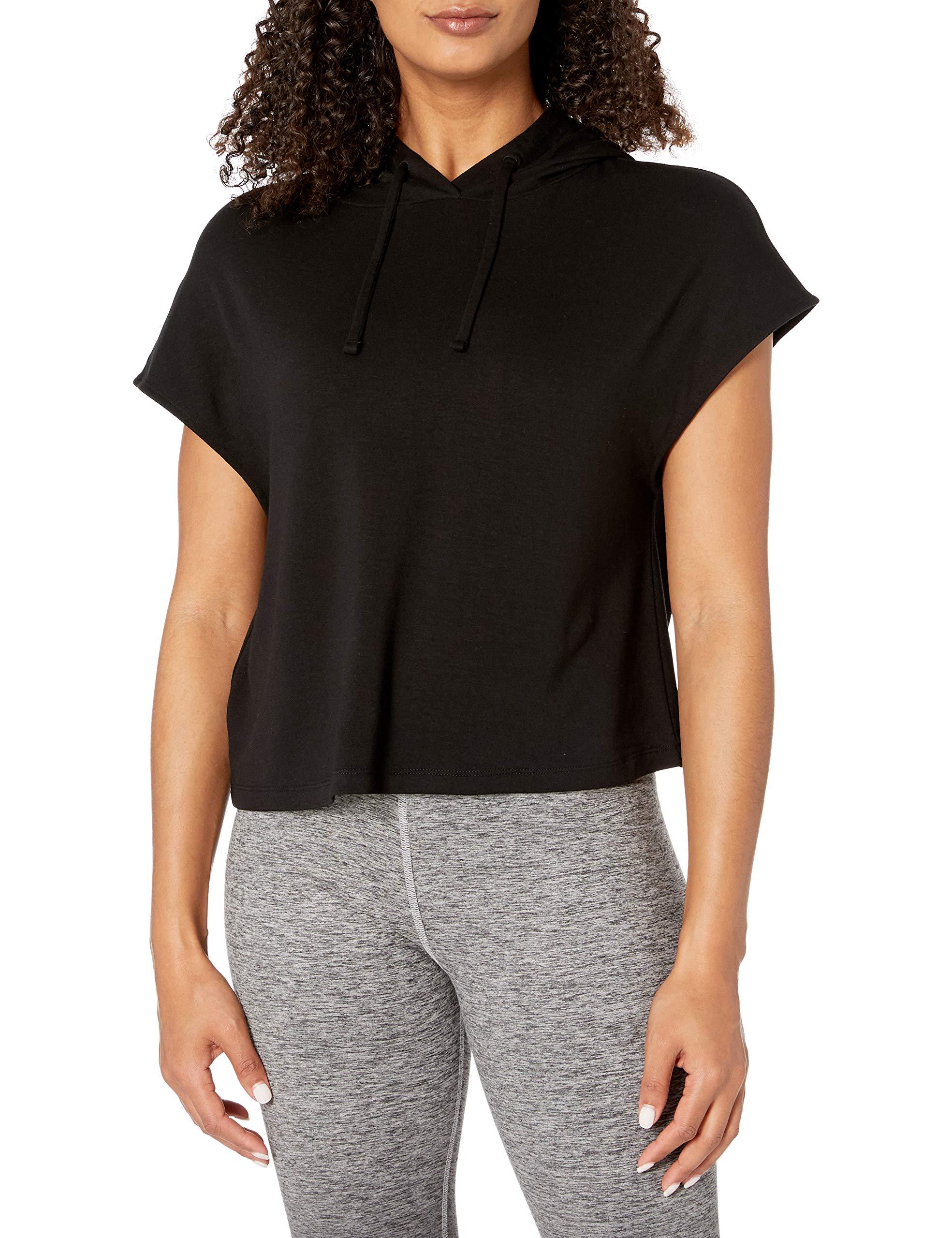Amazon Brand - Core 10 Women's Soft French Terry Cropped Sleeveless Hoodie Yoga Sweatshirt