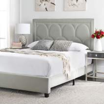 Safavieh Home Solania Contemporary Grey Velvet Bed, Queen