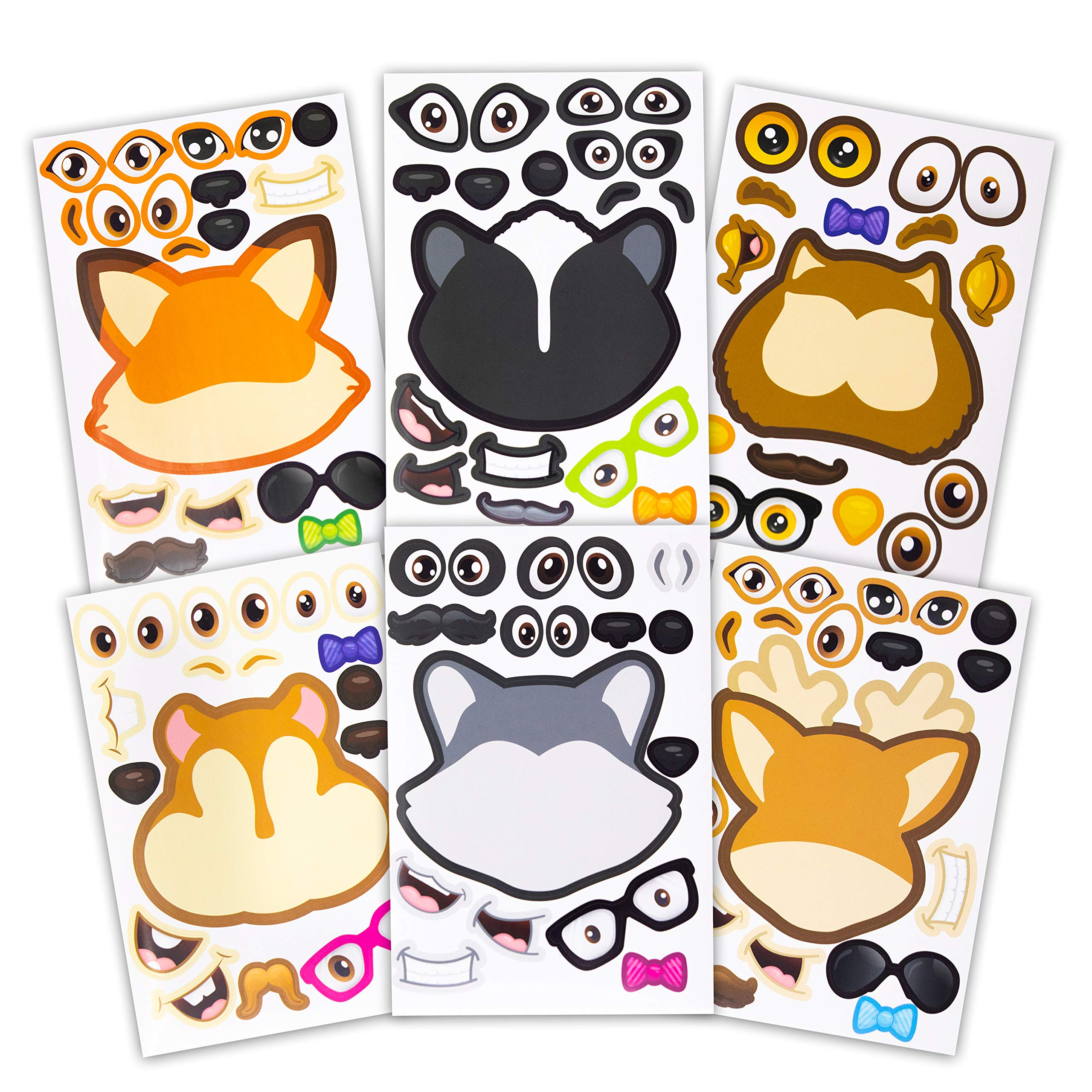 24 Make A Woodland Creatures Sticker Sheets - Fun Addition To Baby Shower Decorations & Birthday Party Supplies, Favors & Decor - Woodland Animals Include Fox, Owl, Chipmunk, Skunk, Deer, Raccoon