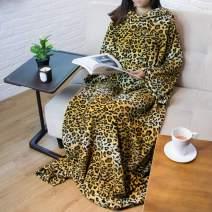 PAVILIA Premium Fleece Blanket with Sleeves for Adult, Women, Men | Warm, Cozy, Extra Soft, Microplush, Functional, Lightweight Wearable Throw (Cheetah, Regular Pocket)
