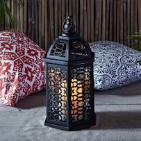 Lights4fun, Inc. Moroccan Black Metal Battery Operated Indoor & Outdoor LED Flameless Candle Lantern