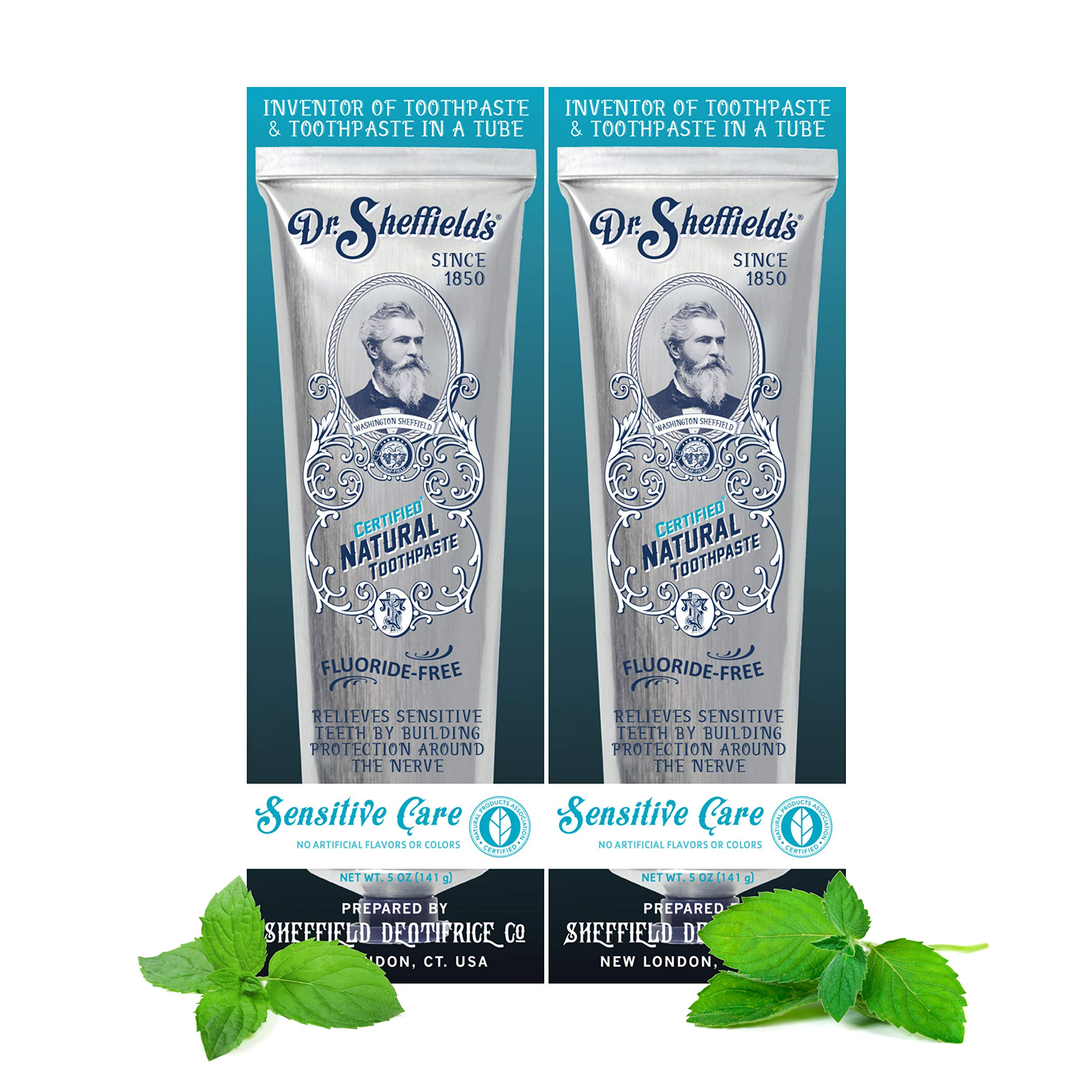 Dr. Sheffield's Certified Natural Toothpaste (Sensitive) - Great Tasting, Fluoride Free Toothpaste/Freshen Your Breath, Whiten Your Teeth, Reduce Plaque (2-Pack)