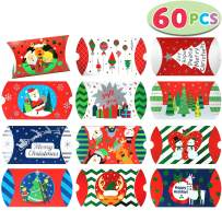 60 PCs Foil Christmas Gift Card Pillow Box with 12 Colorful Designs for Holiday Gift Giving, Treat Boxes, Goodie Boxes, Xmas Craft Party Favors.