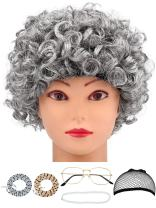 Hestya 6 Pieces Old Lady Costume Granny Wig Accessories for Dress Up (Style Set 3)