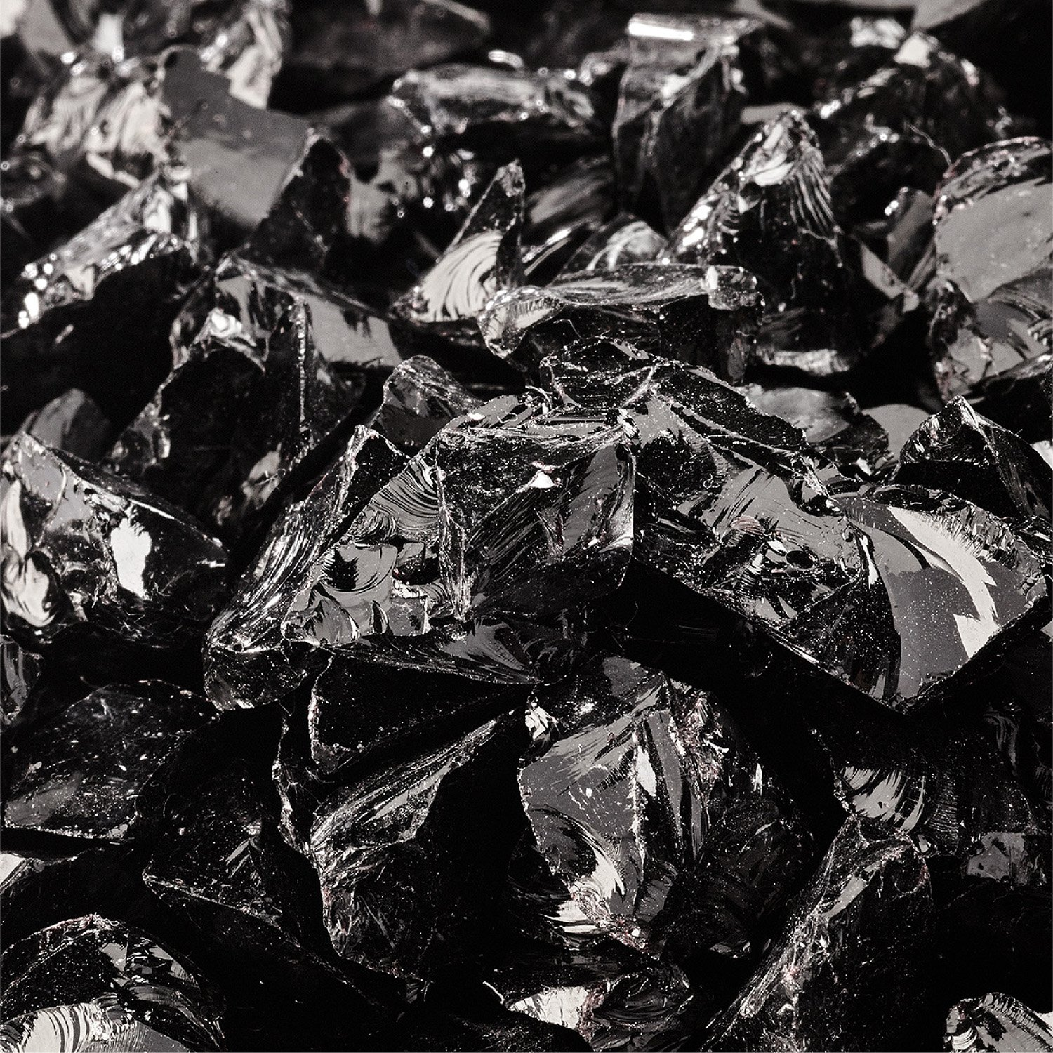 Midnight Black - Crushed Fire Glass for Indoor and Outdoor Fire Pits or Fireplaces | 10 Pounds | 3/8 Inch - 1/2 Inch