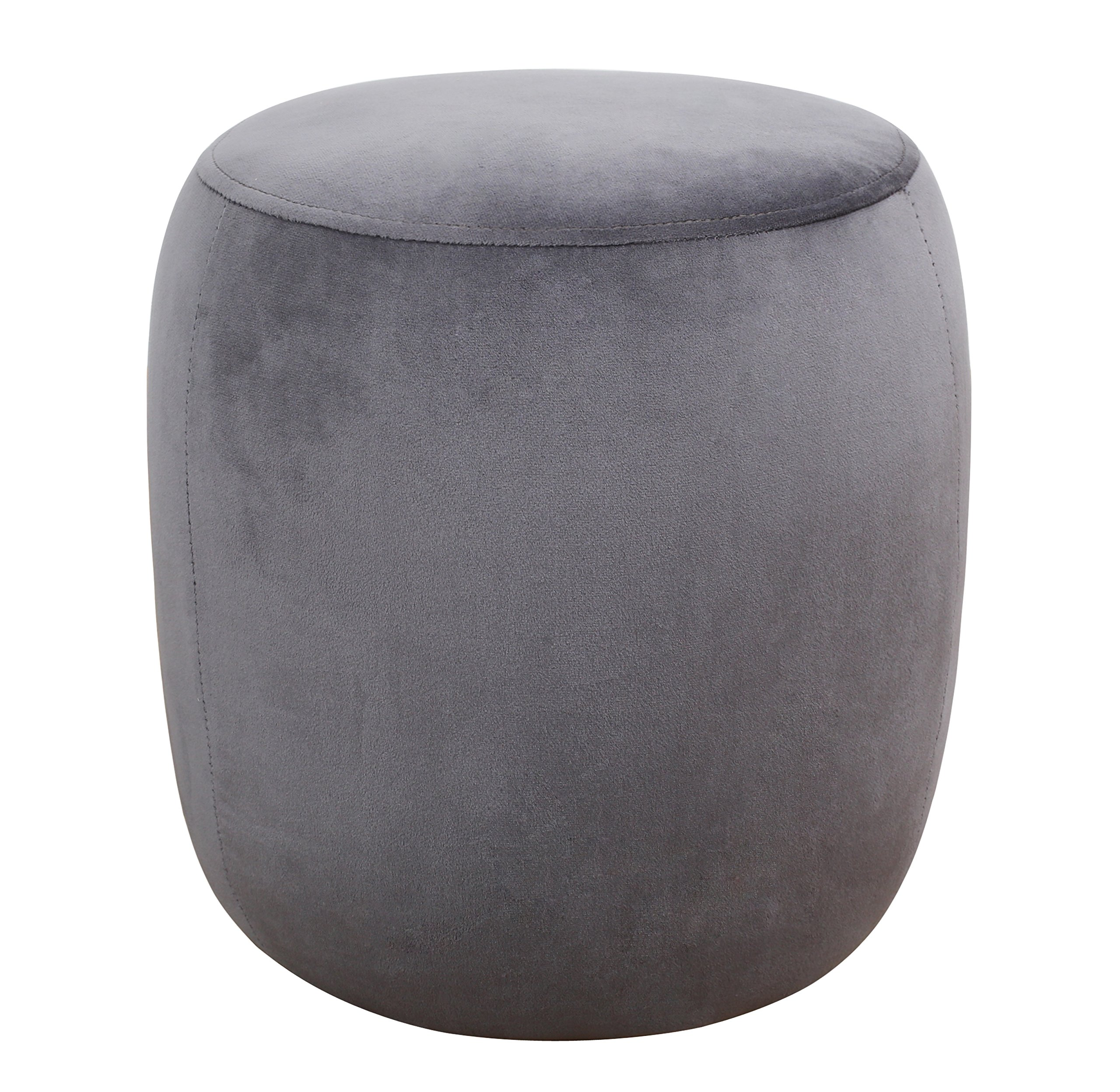 TOV Furniture The Willow Collection Modern Velvet Upholstered Round Ottoman, Grey