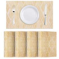 WWW Heat-Resistant Placemats, Set of 4,Stain Resistant Washable PVC Table Mats,Kitchen Table matsfor Dining Kitchen Table Gold