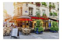 Paris, France - Cafe Tables outside Inviting Restaurant 9032014 (19x27 Premium 1000 Piece Jigsaw Puzzle, Made in USA!)