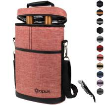 Insulated 2 Bottle Wine Carrier   Wine Tote Bag with Shoulder Strap, Padded Protection, Corkscrew Opener   Portable Wine Cooler Carrying Bag for Travel Picnic - Light Red