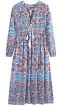 UIMLK Boho Maxi Dresses for Women Casual Summer, Cotton Long Sleeve Floral Print Tassel Bohemian Midi Dresses with Pockets