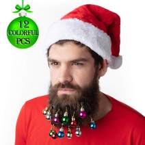 12 pcs Colorful Round Christmas Beard Ornaments - 12 Colors, Easy Clip - Show Holiday Spirit - Great Gag Gift or Decorative Accessory for Ugly Christmas Sweater Parties, Santacon and More