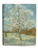 DECORARTS - The Pink Peach Tree, Vincent Van Gogh Art Reproduction. Giclee Canvas Prints Wall Art for Home Decor 30x24