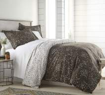 Southshore Fine Living, Inc. The Vilano Choice Collection 3-Piece Reversable Printed Duvet Cover Set, Botanical Leaves Brown, Full/Queen