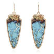 Marble Effect on Recycled Wood, Arrowhead Shape Drop Statement Earrings