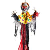 Halloween Haunters 3 Foot Hanging Scary Circus Clown Ghoul with Evil Red Flashing LED Eyes Prop Decoration - 1/3 Life-Size Scale Spooky Face, Red and Black - Fun Haunted House, Entryway Party Display