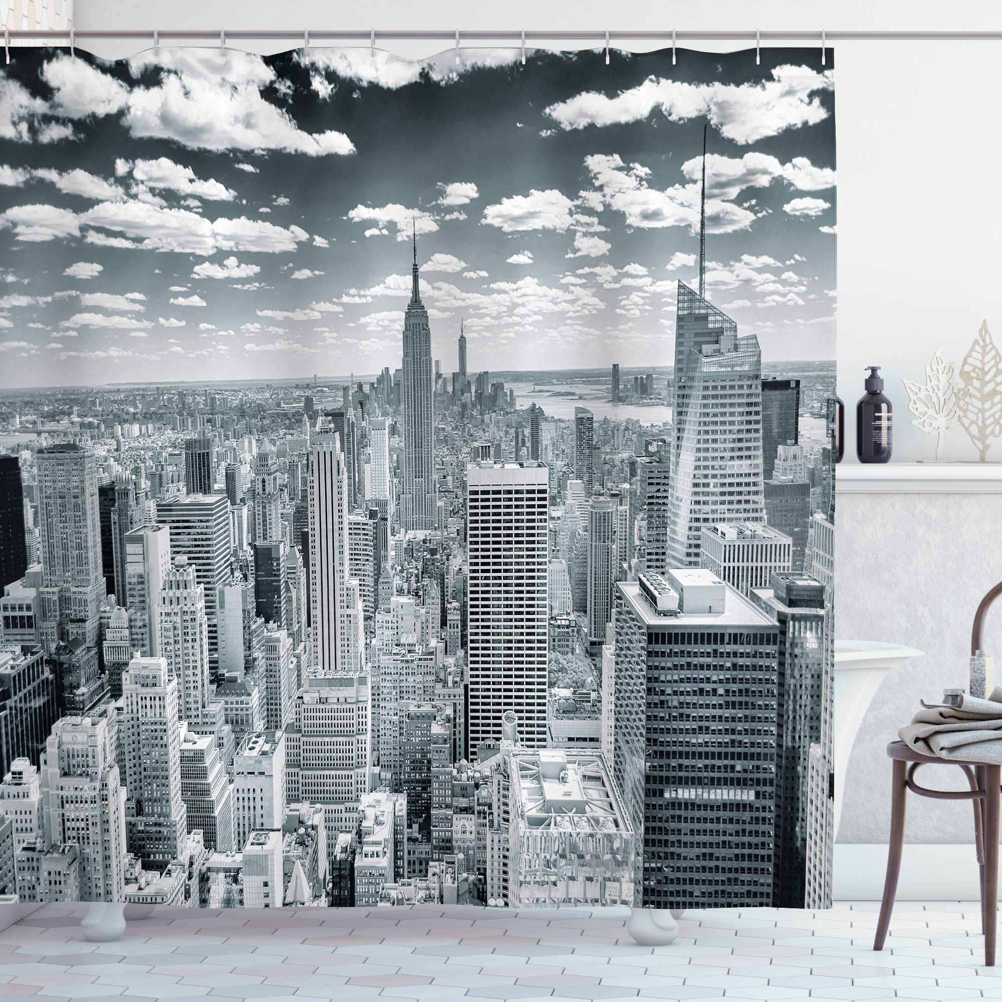 """Ambesonne New York Shower Curtain, NYC Over Manhattan from Top of Skyscrapers Urban Global Culture City Panorama, Cloth Fabric Bathroom Decor Set with Hooks, 84"""" Long Extra, Grey"""