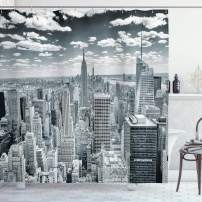 """Ambesonne New York Shower Curtain, NYC Over Manhattan from Top of Skyscrapers Urban Global Culture City Panorama, Cloth Fabric Bathroom Decor Set with Hooks, 75"""" Long, Grey"""