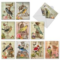 10 Postcard-Style Note Cards with Envelopes 4 x 5.12 inch, Assorted 'Royal Birds' Blank Greeting Cards, All-Occasion Stationery Set for Weddings, Birthdays, Thank Yous - NobleWorks M2343OCB