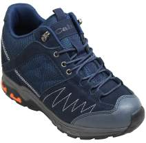 CALTO Men's Invisible Height Increasing Elevator Shoes - Dark Blue Suede Lace-up Hiking Boots - 3.3 Inches Taller - H2042