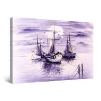 """Startonight Canvas Wall Art Abstract - Purple Down on The Ocean Painting - Large Framed 32"""" x 48"""""""