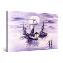 """Startonight Canvas Wall Art Abstract - Purple Down on The Ocean Painting - Framed 24"""" x 36"""""""