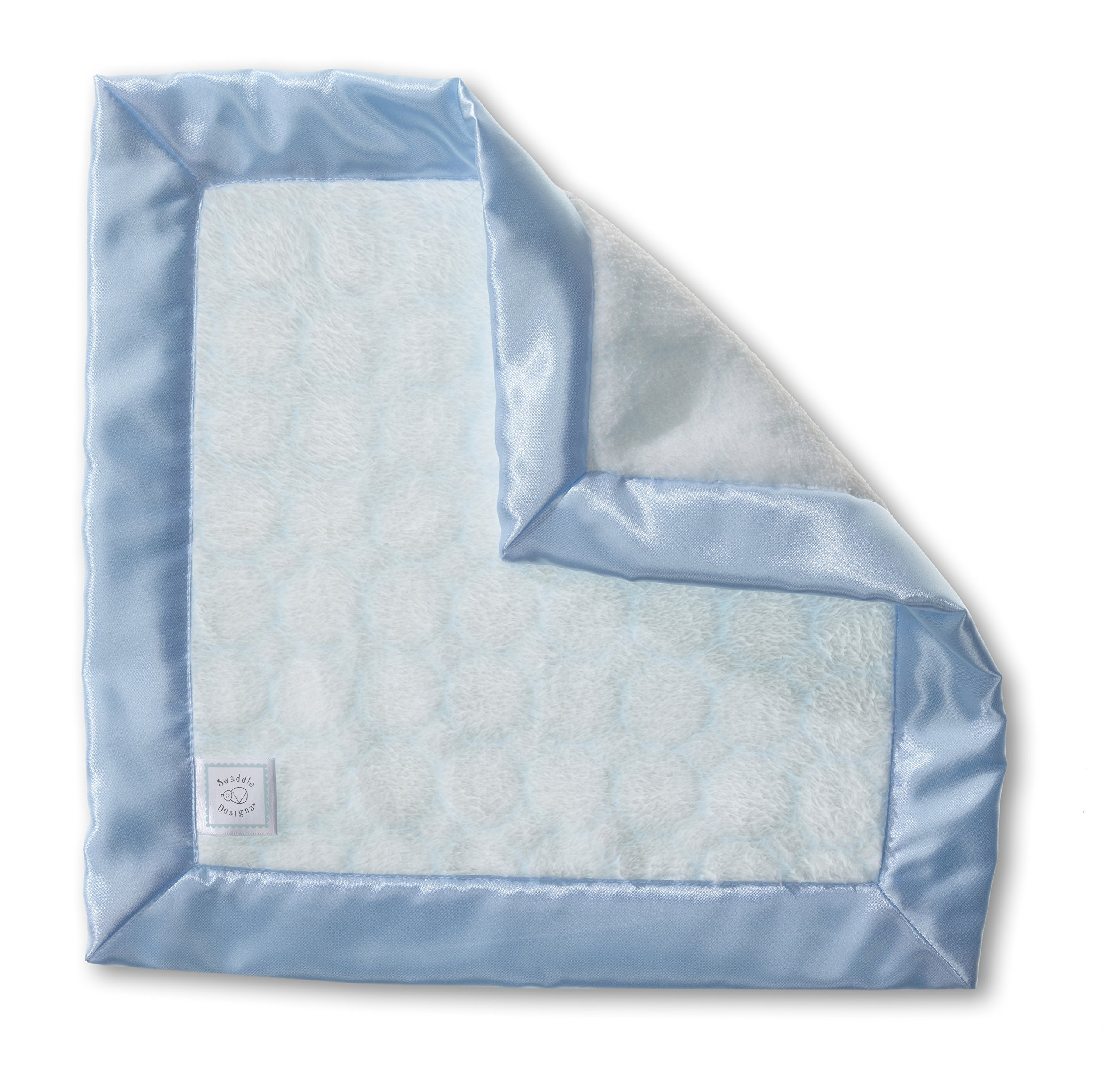 SwaddleDesigns Baby Lovie, Small Security Blanket, Puff Circles with Satin Trim, Pastel Blue