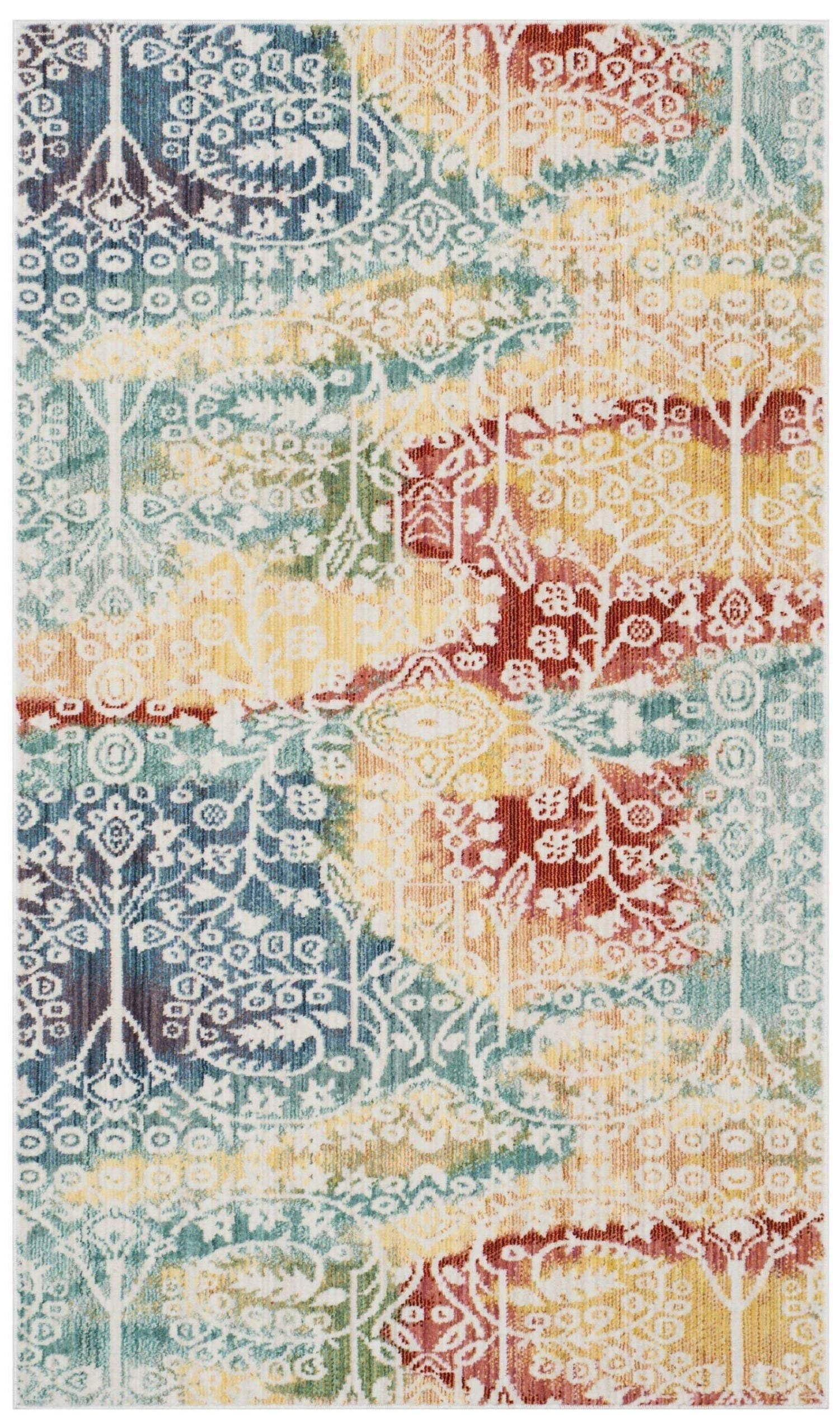 Safavieh Mystique Collection MYS926T Vintage Watercolor Blue and Rust Distressed Area Rug (3' x 5')