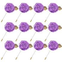 Lapel Flower Gold Leaf Pin Rose for Wedding Boutonniere Stick for Suit (Set of 12 PINS)