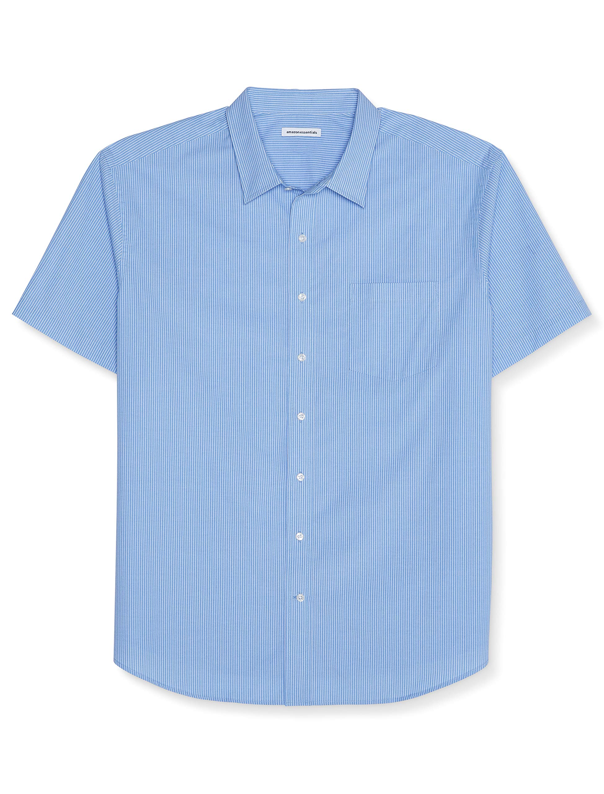 Amazon Essentials Men's Big & Tall Short-Sleeve Stripe Shirt fit by DXL