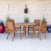 Amazonia Arizona 5 Piece Round Patio Dining Set   Eucalyptus Wood   Ideal for Outdoors and Indoors