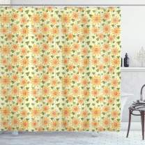 """Ambesonne Sunflower Shower Curtain, Floral Nature Pattern in Patchwork Style Rustic Country Design, Cloth Fabric Bathroom Decor Set with Hooks, 84"""" Long Extra, Olive Green"""