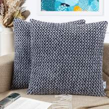 PAULEON Throw Pillow Covers 22x22 – Black and White, Set of 2 – Fluffy Fiber - Decorative Cushion Cases – Perfect for Couch, Sofa, Bed, Accent Pillows