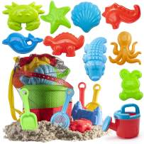 Prextex 19 Piece Beach Toys Sand Toys Set, Bucket with Sifter, Shovels, Rakes, Watering Can, Animal and Castle Molds in Drawstring Bag