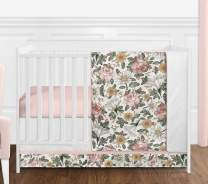 Sweet Jojo Designs Vintage Floral Boho Baby Girl Nursery Crib Bedding Set - 4 Pieces - Blush Pink, Yellow, Green and White Shabby Chic Rose Flower Farmhouse