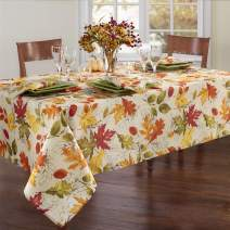 """Elrene Home Fashions Autumn Leaves Printed Fabric Tablecloth for Fall/Harvest/Thanksgiving, 60""""x102"""" Oblong/Rectangle, Multi"""