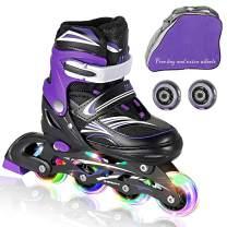 JIFAR Adjustable Inline Skates (Includs Free 2 Wheels & Bag) for Kids with Full Light Up Wheels,Children's Inline Skates for Indoor & Outdoor Skating for Boys,Girls, Beginners,Medium & Small