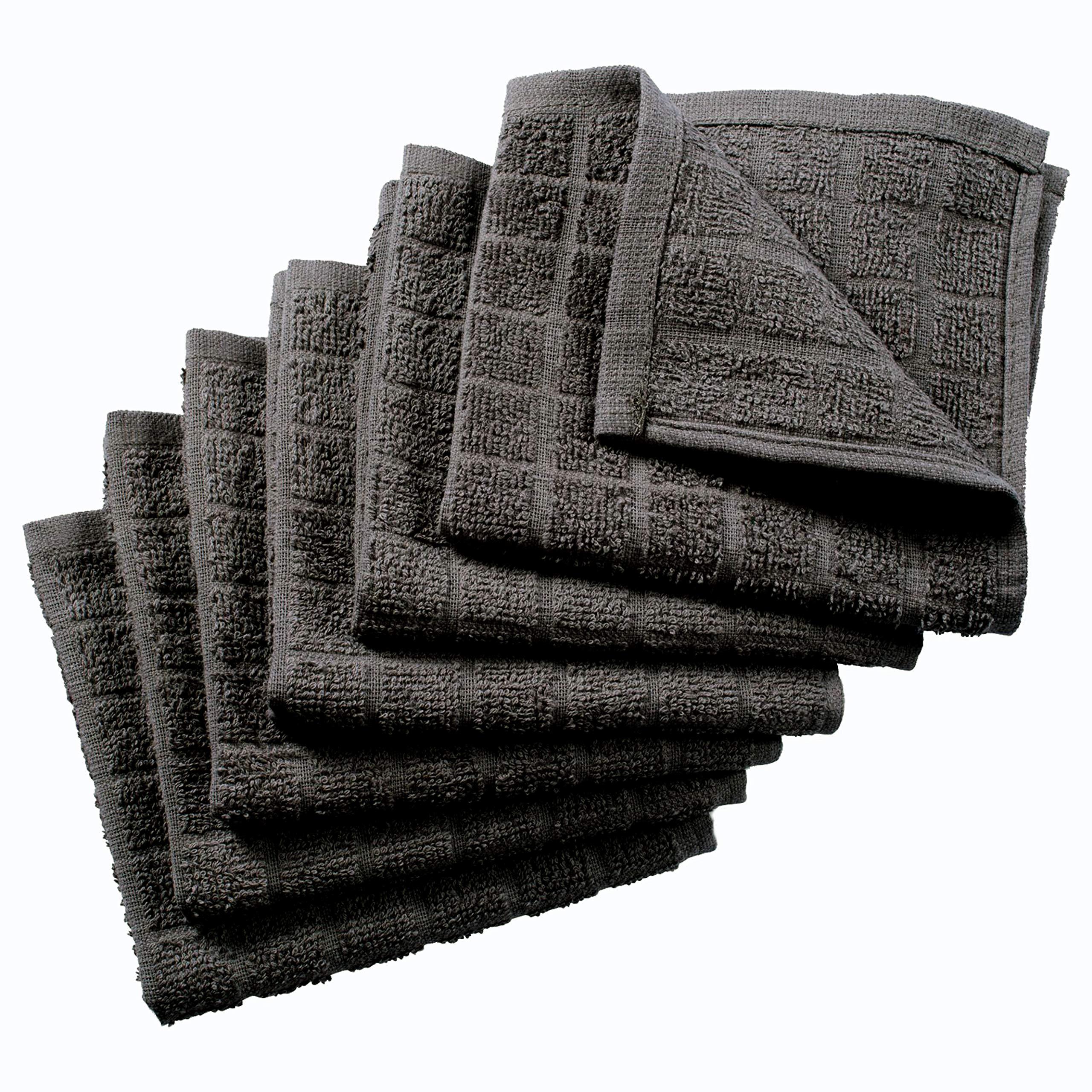 Nirisha Cotton Terry Dish Cloth - 6 Pack - Grey - 12 x 12 Inches - 400 GSM - 100% Ringspun 2 Ply Cotton - Box Weave - Soft & High Absorbent