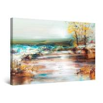 "Startonight Canvas Wall Art Warm Colors Lake Landscape Painting, Framed 24"" x 36"""