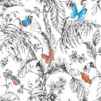 RoomMates Butterfly Sketch Peel and Stick Wallpaper, Orange