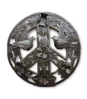 Peace Sign, Living and Organic with 3d Flowers and Birds, Haiti Metal Art Haiti 11 Inches Round