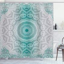 "Ambesonne Grey and Teal Shower Curtain, Mandala Ombre Geometry Occult Pattern with Flower Lines Display Artwork, Cloth Fabric Bathroom Decor Set with Hooks, 84"" Long Extra, Teal Grey"