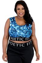 Poetic Justice Plus Size Curvy Women Blue Geometric Print Sports Bra Mesh V-Back