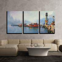 """wall26 - 3 Piece Canvas Wall Art - Fishing Boat in Harbor at Morning,Watercolor Painting Style - Modern Home Decor Stretched and Framed Ready to Hang - 24""""x36""""x3 Panels"""
