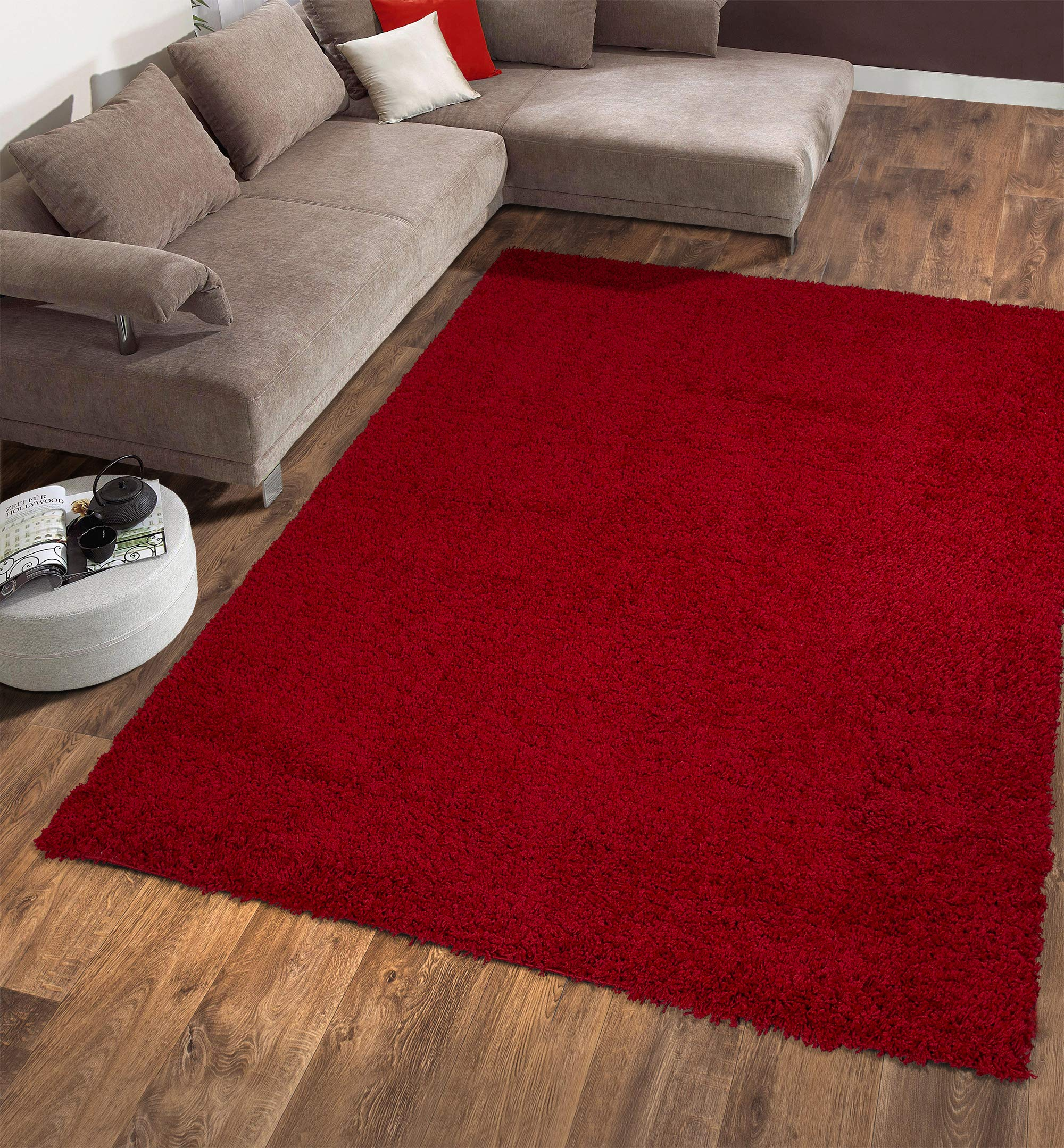 """Ottomanson Soft Cozy Color Solid Shag Area Rug Contemporary Living and Bedroom Soft Shag Area Rug, Red, 5'3"""" L x 7'0"""" W"""