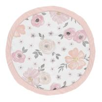 Sweet Jojo Designs Blush Pink, Grey and White Shabby Chic Playmat Tummy Time Baby and Infant Play Mat for Watercolor Floral Collection - Rose Flower