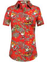 SSLR Women's Tropical Party Casual Ugly Hawaiian Christmas Shirts